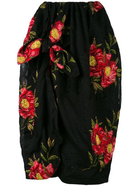 Simone Rocha Floral Jacquard Draped Skirt - Black