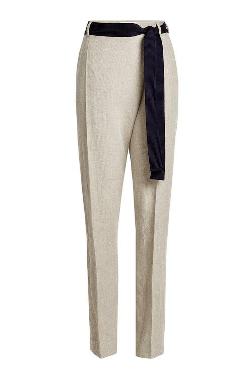 Victoria Beckham Linen Pants With Belt Tie In White