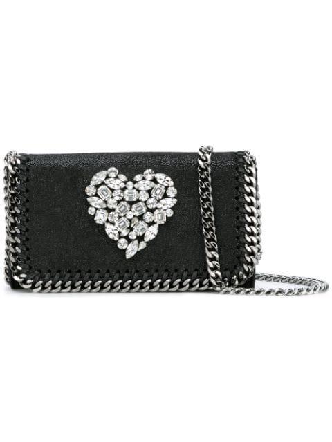 Stella Mccartney Crystal Heart Falabella Cross-Body Bag - Black