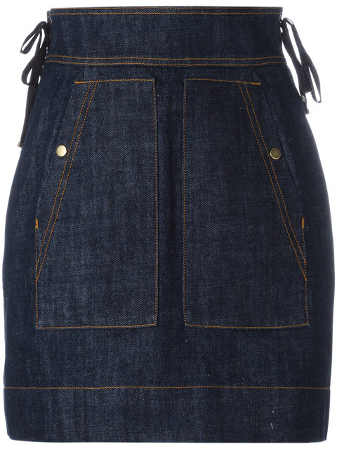Kenzo High-Waisted Denim Skirt In Midnight Blue