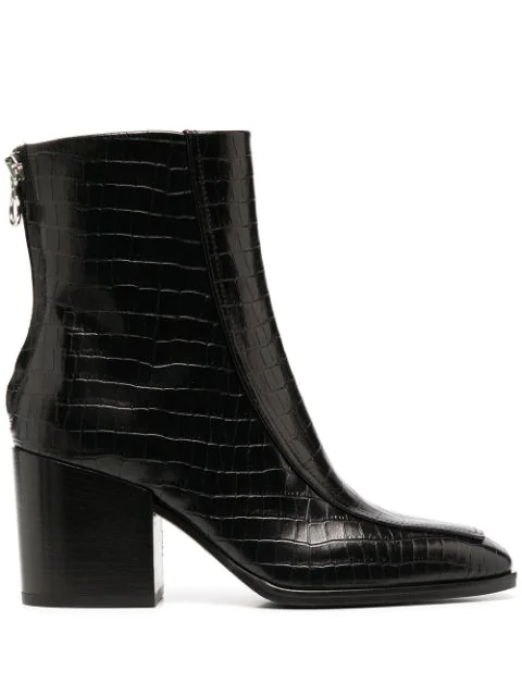 Aeyde Lidia Crocodile Effect Leather Boots In Black