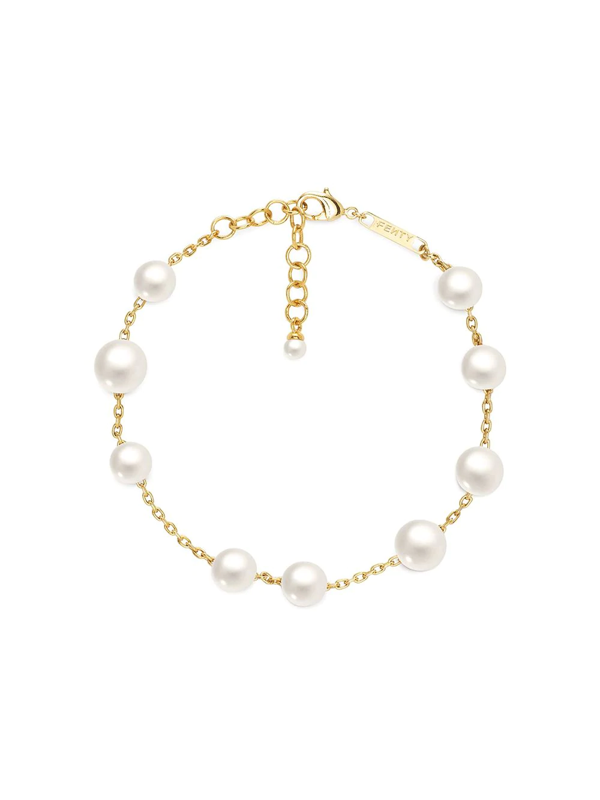 Fenty Pearls Anklet In Gold