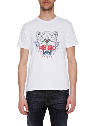 Kenzo Tiger-Print Cotton-Jersey T-Shirt In 01 White