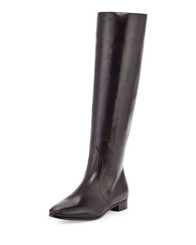 Prada Flat Almond-Toe Knee Boot In Nero-Black