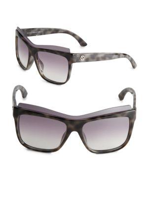 Gucci 54Mm Layered Square Sunglasses In Grey