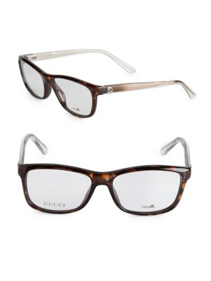 Gucci 56Mm Multi-Toned Optical Glasses In Havana Brown