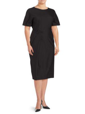 Jil Sander Solid Short-Sleeve Dress In Black