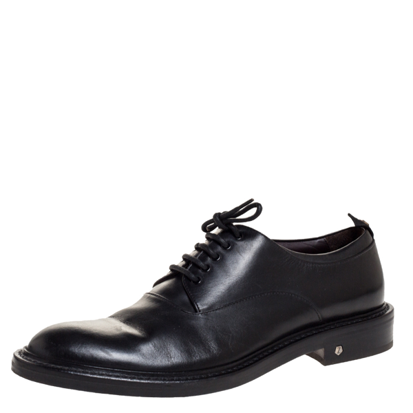 Pre-owned Z Zegna Black Leather Lace Up Derby Size 42.5