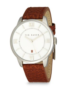 Ted Baker Stainless Steel & Leather Analog Watch In Silver