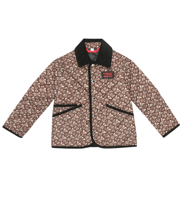 Burberry Kids' Calvin Tb Monogram Quilted Jacket In Brown