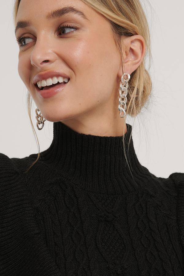 Na-kd Back Drop Chain Earrings Silver