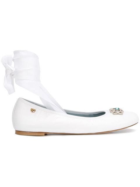 Chiara Ferragni Front Strap Ballerina Shoes