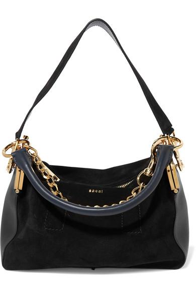 Sacai Coin Purse Suede And Leather Shoulder Bag In Black