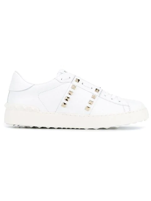 Valentino Garavani Low-top Sneakers Rockstud Untiteld Calfskin Logo Rivets White