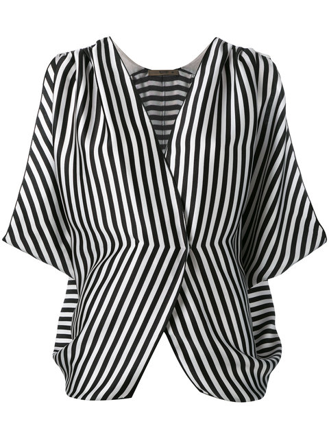 Etro Wrap-Effect Striped Ribbed Silk Top In Black