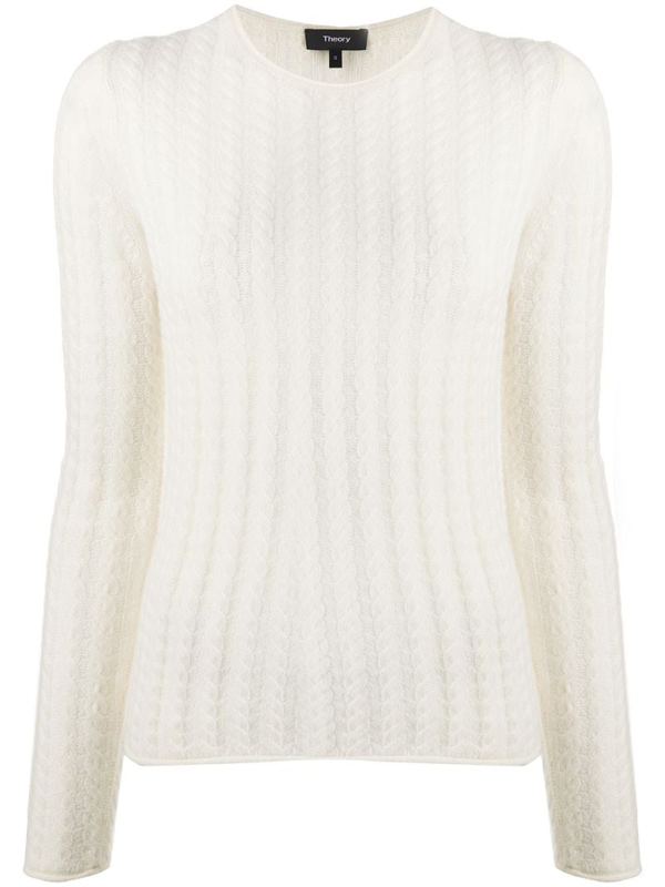 Theory Tiny Cable Shrunken Cashmere Sweater In Neutrals