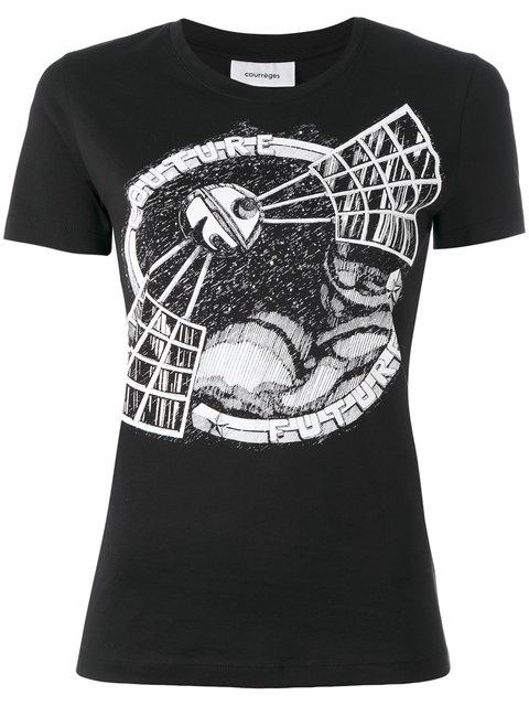CourrÈGes Satellite Printed Cotton Jersey T-Shirt In Black