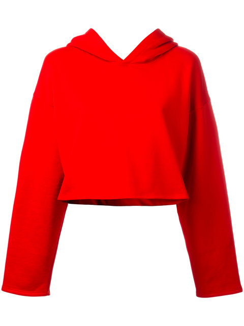 Golden Goose Cropped Cotton-Jersey Hooded Top In Red