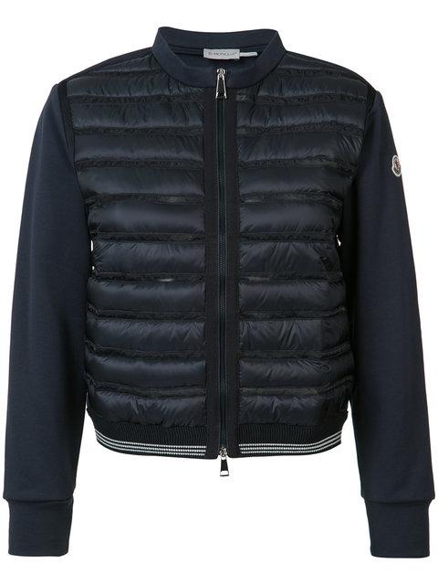 Moncler Boxy Collarless Mixed-Media Jacket, Navy