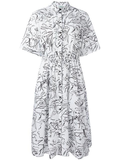 Kenzo Sketches Shirt Dress In Black&White