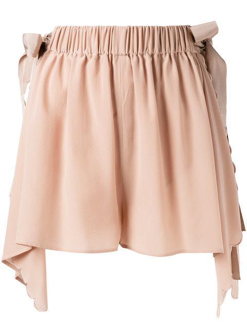 Fendi Handkerchief Hem Scallopped Shorts In Jueo