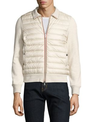 Moncler Maglia Zipfront Cardigan In Light Beige