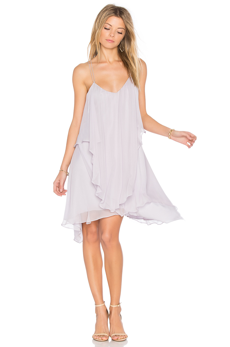 Haute Hippie All This & Heaven Too Silk Layered Dress, Antiqued-White In Pale Violet