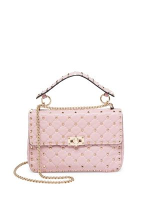 Valentino Medium Rockstud Stitched Leather Chain Shoulder Bag In Rose