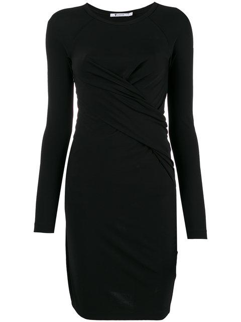 T By Alexander Wang Twist Front Dress In Black