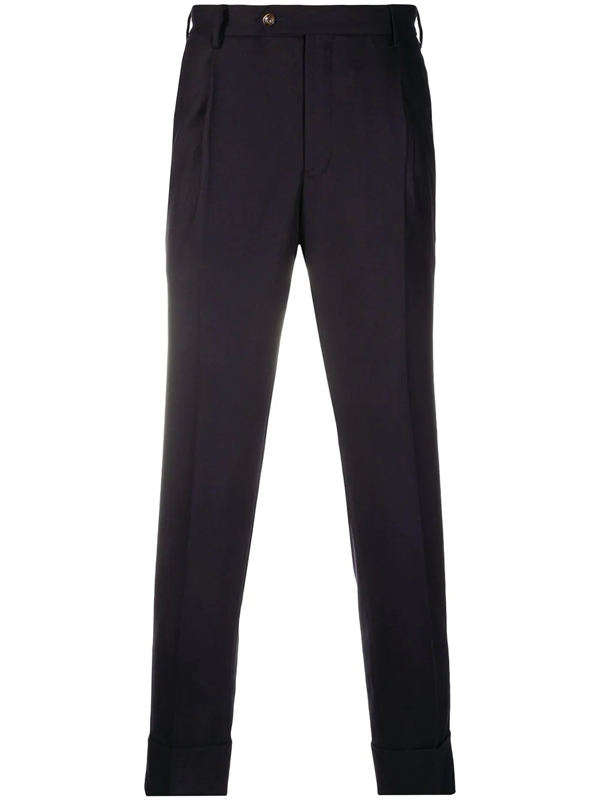 Pt01 Cropped Tailored Trousers In Blue