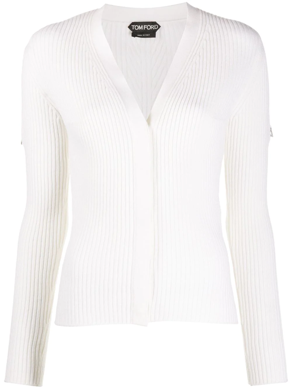 Tom Ford Ribbed Long-sleeved Cardigan In White