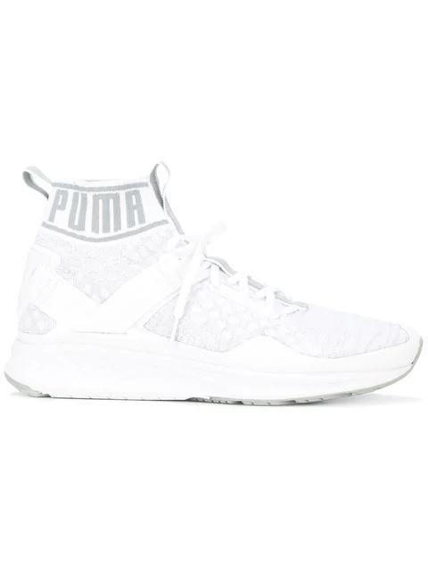 Puma Ignite Evoknit 하이탑 스니커즈 In  White/Quarry/Vaporous Gray