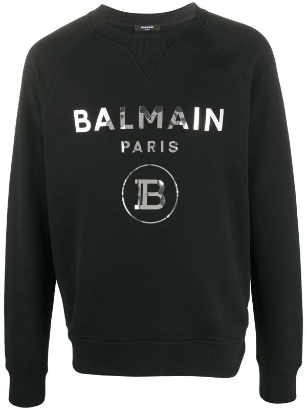 Balmain Logo Print Sweatshirt In Black