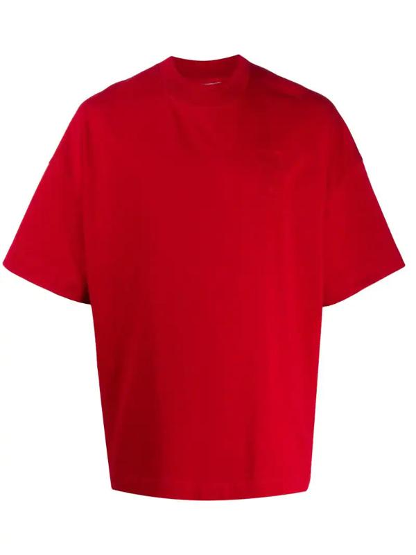 Ami Alexandre Mattiussi Embroidered Ami De Coeur T-shirt In Red