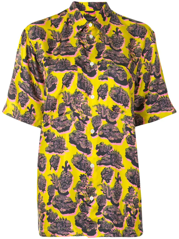 Stella Mccartney Psychedelic-print Silk-twill Short-sleeved Shirt In Yellow