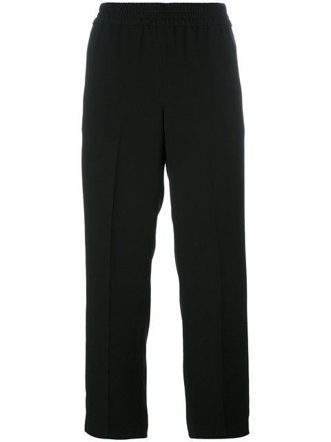 Tory Burch Elasticated Waist Cropped Trousers - Black