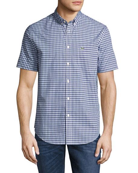 Lacoste Short-Sleeve Gingham Shirt, Blue/White