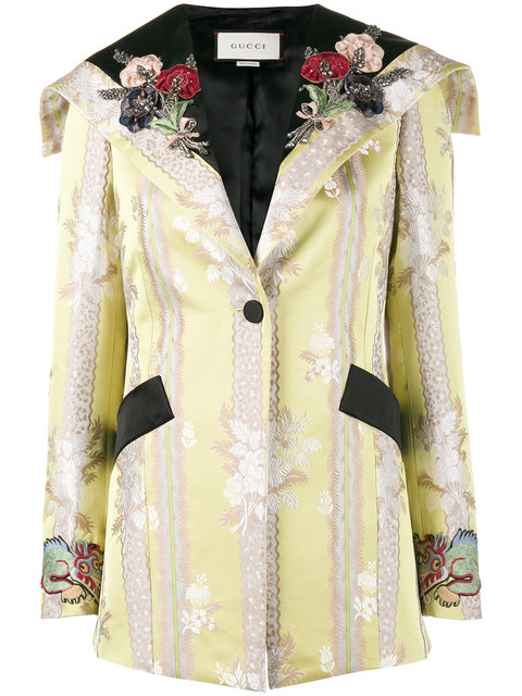 Gucci Embellished Cotton And Silk Jacket In Yellow
