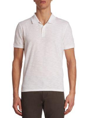 Vince Classic Slub Cotton Polo In White