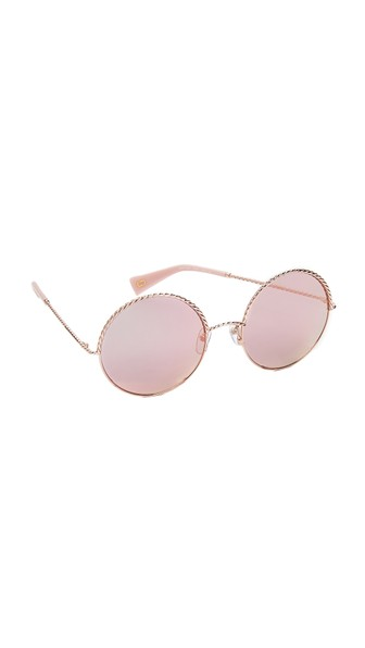 Marc Jacobs Rope Round Sunglasses In Gold Pink/Rose Gold