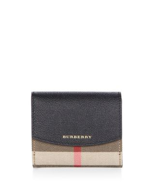 Burberry Luna Small Leather & Check French Wallet, Black In Brown