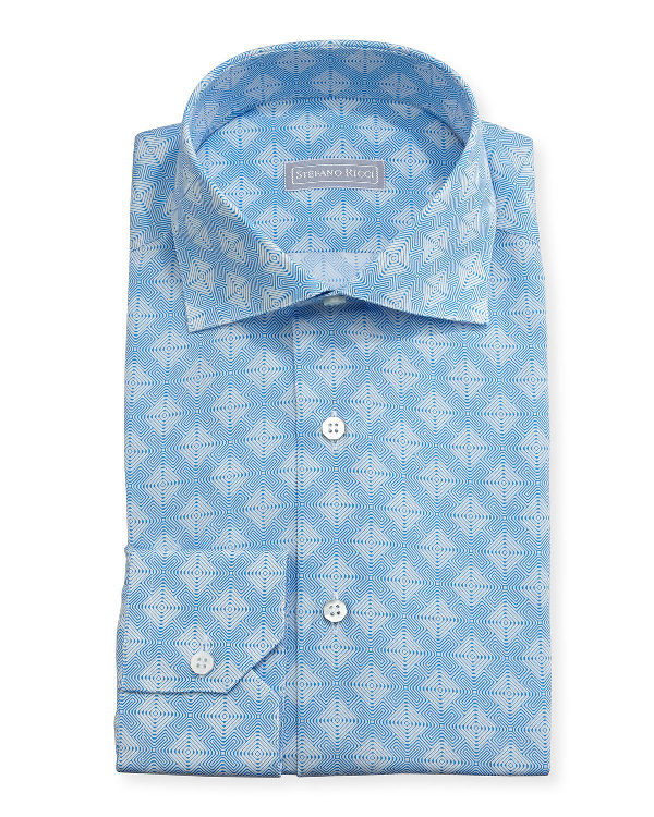 Stefano Ricci Medallion Cotton-Silk Dress Shirt, Blue