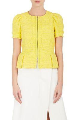 Nina Ricci Tweed Short-Sleeve Jacket In Yellow