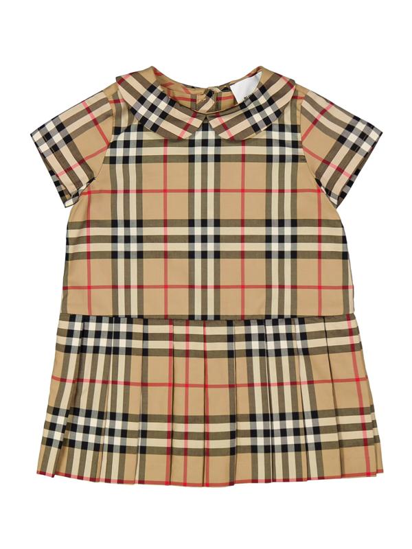 Burberry Kids' Peggy Tartan Drop Waist Dress In Beige