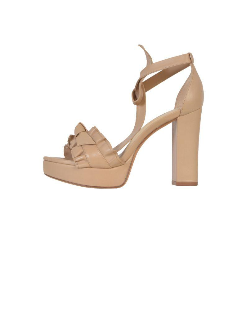 Alexandre Birman Leather Sandals With Ankle Tie In Nude