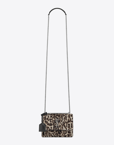 Saint Laurent Small Sunset Bag In Natural And Black Leopard Printed Cowhide And Black Leather In Ivory