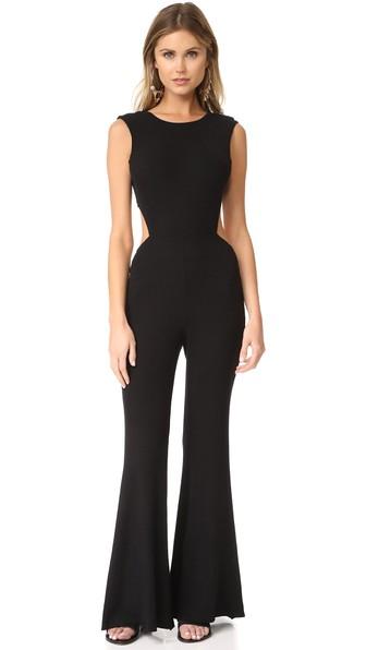 Enza Costa Rib Wrap Tie Jumpsuit In Black