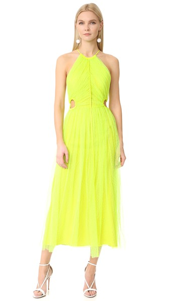 Jason Wu Twisted-Back Shadow Floral Midi Dress, Neon Yellow, Neon Yelloe