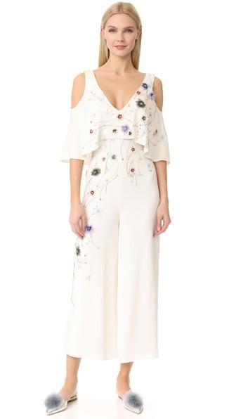 Monique Lhuillier Embroidered V-Neck Cold-Shoulder Jumpsuit, Silk White