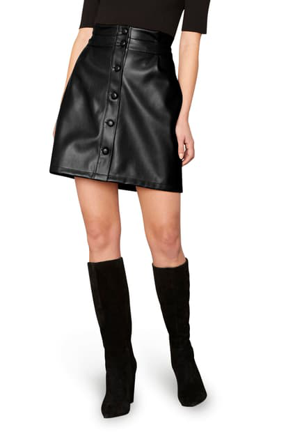 Cupcakes And Cashmere Joanie Front Button Faux Leather Miniskirt In Black